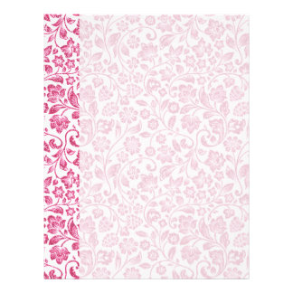 Sparkly Pink Floral on White Letterhead