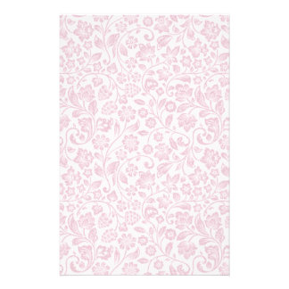 Sparkly Pink Floral on White Stationery
