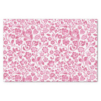 Sparkly Pink Floral on White Tissue Paper