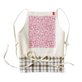 Sparkly Pink Floral on White Zazzle HEART Apron
