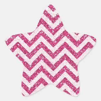 Sparkly Pink Glitter Chevron Stripe Star Stickers