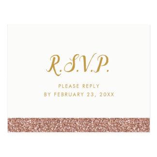 Sparkly Pink Gold RSVP Response POSTCARD