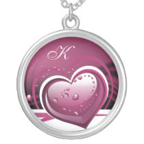 sparkly pink  hearts silver plated necklace