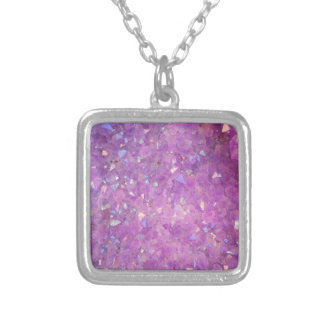 Sparkly Pinky Purple Aura Crystals Silver Plated Necklace