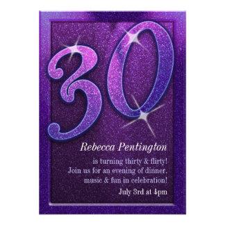 Sparkly Purple 30 and Flirty Birthday Invitations