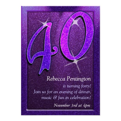Sparkly Purple 40th Birthday Party Invitation
