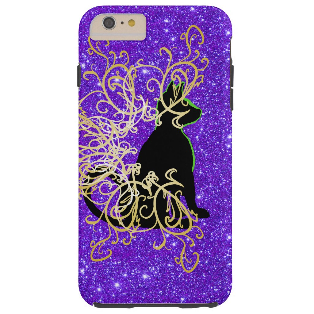 Sparkly Purple Black Cat Pop Art CricketDiane Tough iPhone 6 Plus Case