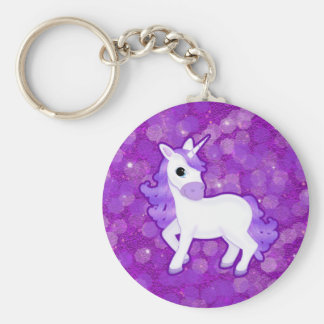 Sparkly Purple Glitter Pattern with a Cute Unicorn Basic Round Button Keychain