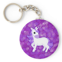 Sparkly Purple Glitter Pattern with a Cute Unicorn Keychain