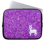 Sparkly Purple Glitter Pattern with a Cute Unicorn Computer Sleeves