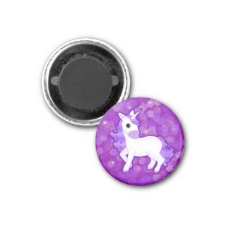 Sparkly Purple Glitter Pattern with a Cute Unicorn Magnet