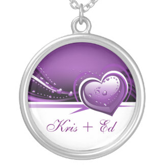 sparkly purple  hearts round pendant necklace