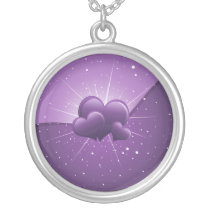 sparkly purple  hearts silver plated necklace
