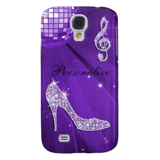 Sparkly Purple/ Lilac Music Note & Stiletto Heel Samsung Galaxy S4 Cover