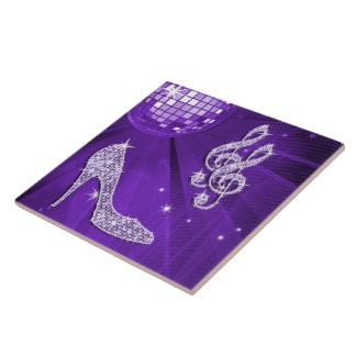 Sparkly Purple/ Lilac Music Note & Stiletto Heel Ceramic Tile