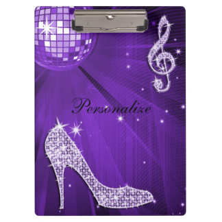 Sparkly Purple/ Lilac Music Note & Stiletto Heel Clipboards