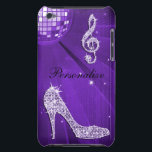 "Sparkly Purple/ Lilac Music Note &amp; Stiletto Heel iPod Case-Mate Case<br><div class=""desc"">Elegant, glamorous personalised case. Beautiful, dazzling, trendy printed image Purple, lilac/ Lavender sparkles diamonds bling jewels musical note, funky retro disco mirror ball and stiletto high heel fashion shoe on a chic Purple, Lilac/Lavender printed image background. A cute, classy, fashionable, stylish, pretty gift for her or any music lover. Women...</div>"