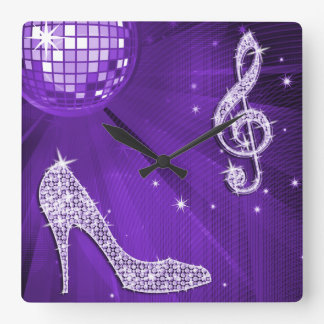 Sparkly Purple/ Lilac Music Note & Stiletto Heel Square Wall Clock