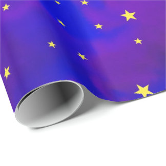 Sparkly Purple Night Sky and Golden Yellow Stars Gift Wrap Paper