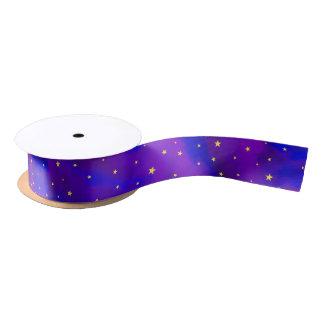 Sparkly Purple Sky and Golden Stars Christmas Satin Ribbon