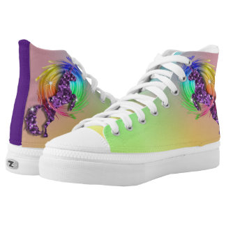 Sparkly Purple Unicorn Ombre Rainbow High-Top Sneakers