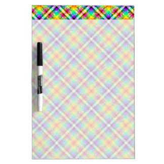 Sparkly Rainbow Gingham Plaid Dry-Erase Board