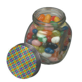 Sparkly Rainbow Gingham Plaid Glass Candy Jars