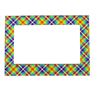 Sparkly Rainbow Gingham Plaid Magnetic Photo Frame