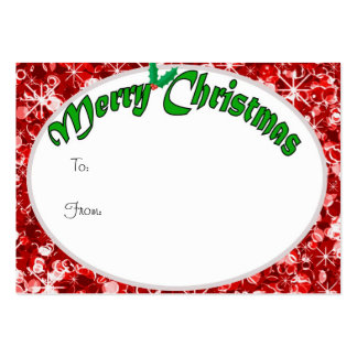 Sparkly Red Christmas gift tag Large Business Card