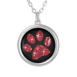 Sparkly Red Glitter Cat Paw Necklace