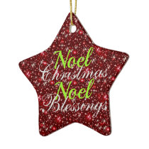 Sparkly Red Noel Christmas Blessings Ceramic Ornament