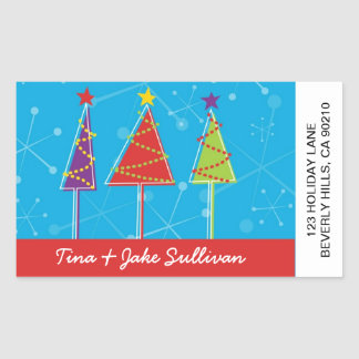 Sparkly Retro Trees Shipping Labels