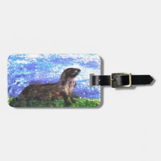 Sparkly River Otter Art Bag Tag