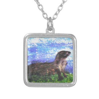 Sparkly River Otter Art Silver Plated Necklace