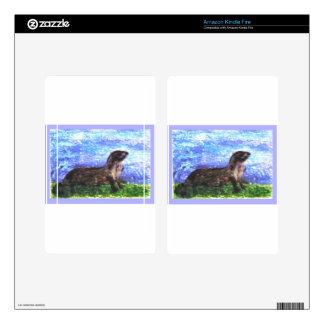 Sparkly River Otter Art Skins For Kindle Fire