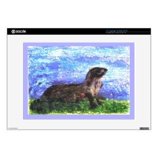 "Sparkly River Otter Skins For 15"" Laptops"