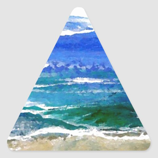 Sparkly Sea Ocean Beach Surf Gifts Sea Waves Triangle Sticker