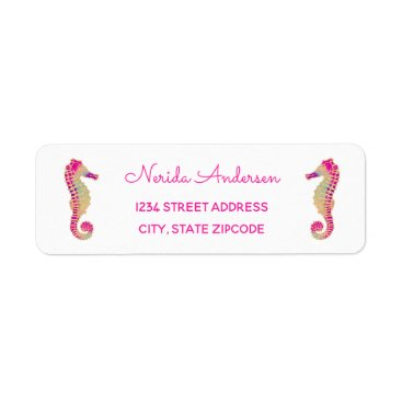 Beach Themed Sparkly Seahorse Address Label