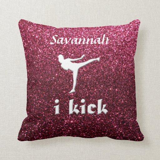 Sparkly Shimmering fuchsia  'i kick' custom Throw Pillow