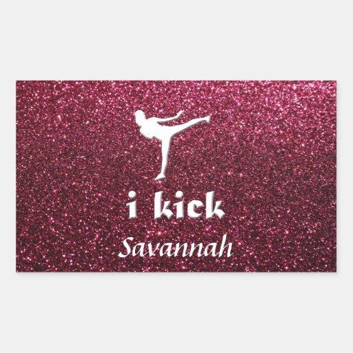 Sparkly Shimmering fuchsia  'i kick' custom Rectangular Sticker