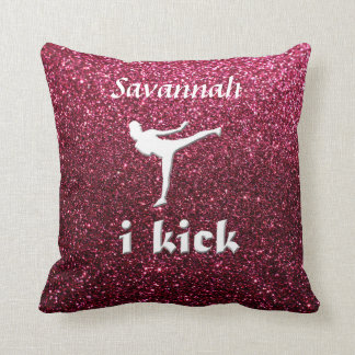 Sparkly Shimmering fuchsia 'i kick' faux Glitter Throw Pillow