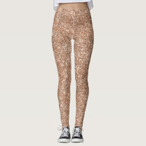 Sparkly Shiny Glitter Rose Gold Leggings