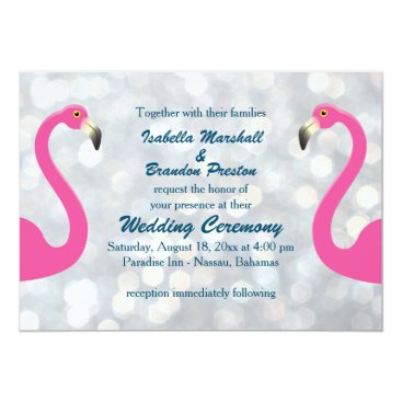 Beach Themed Sparkly Silver Flamingo Wedding Invitation
