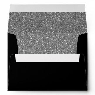Sparkly silver glitter liner black invitation envelope