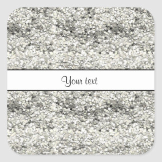 Sparkly Silver Glitter Square Sticker