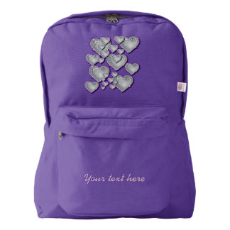 Sparkly silver hearts backpack