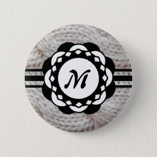 Sparkly Silver Knit Sweater Monogram Button