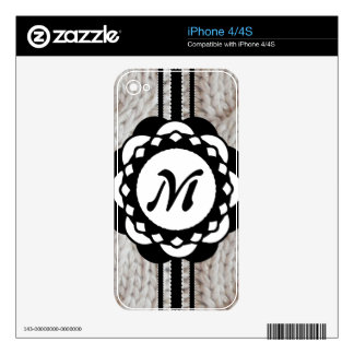Sparkly Silver Knit Sweater Monogram iPhone 4S Decal