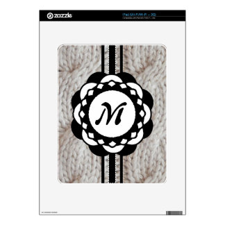 Sparkly Silver Knit Sweater Monogram Skin For The iPad