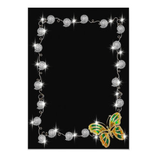 Sparkly Silver link and butterfly Card